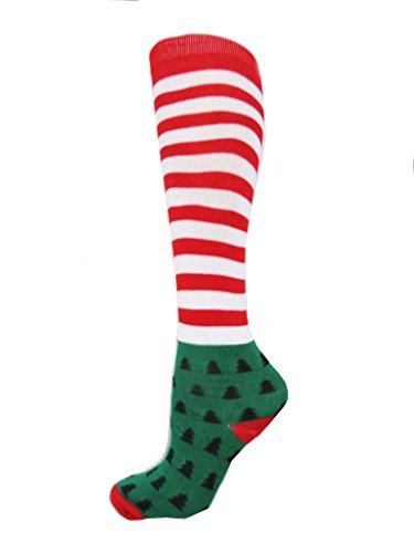 Women's Christmas Holiday Printed Knee High Socks (stripe)