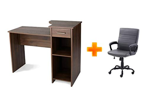 Furniture Office/Computer Desk with Adjustable Shelf in Canyon Walnut Plus Office/Computer Bonded Leather Mid-Back Chair in Gray - Bundle Set