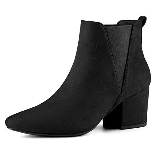 Allegra K Women's Pointed Toe Block Heel Black Chelsea Ankle Boots - 8 M ()