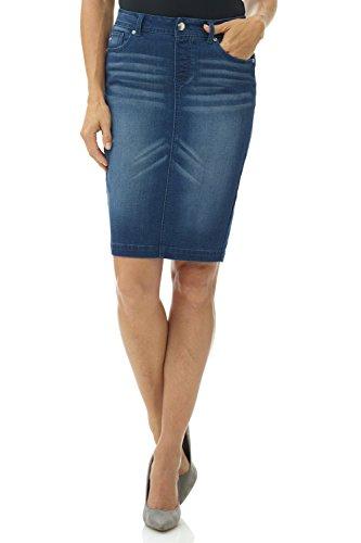 Rekucci Women's Jean-ius fit Unbelievable Pull-On Denim Skirt (18,Ocean Whiskers) ()