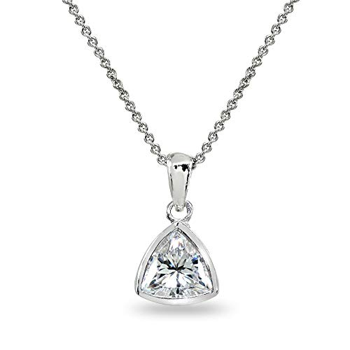 Sterling Silver 8mm Trillion Bezel-Set Pendant Necklace for Women Teen Girls Made with Swarovski Zirconia