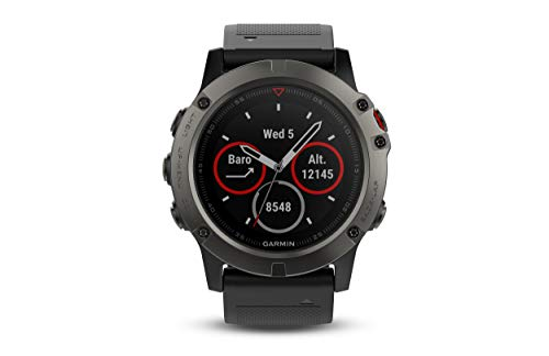 Garmin fēnix 5X, Premium and Rugged Multisport GPS Smartwatch, Features TOPO U.S. Mapping, Slate Gray, Renewed