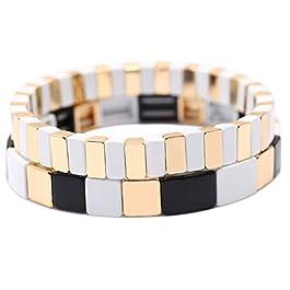 Badu 2Pcs Hematite Bracelet for Women, Fashion Stretch Bracelets, Promise Bracelet for Couples, Multicolor Bracelets