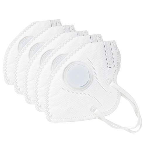 Muryobao Mouth Mask Anti Pollution Mask Unisex Outdoor Protection N95 4 Layer Filter Insert Anti Dust Mask with Valve Filter for Men Women 5 Pack White Upgrade -