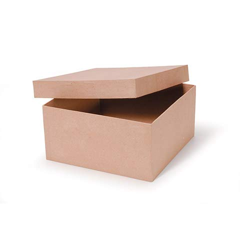 Paper Mache Box Square 10 x 10 x 5 inches (3 Pack)
