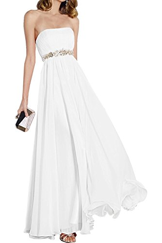 Taille mit Abendkleider La mia Himmel Anmutig Weiß Braut Blau Chiffon Steine Festlichkleider am Partykleider Ballkleider vpwwAOZq1x