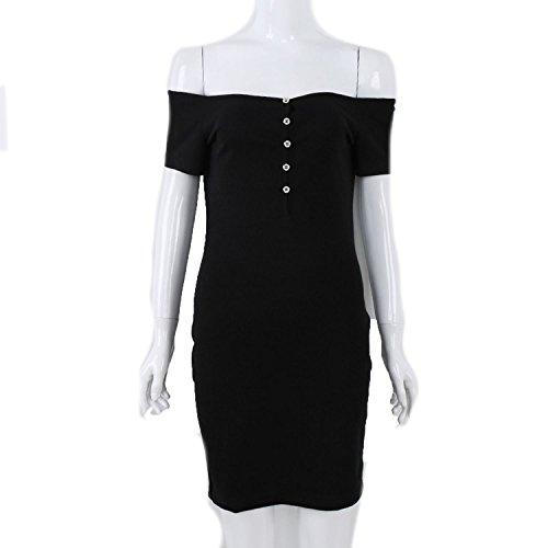 better-caress Women Summer Bandage 2018 Sexy Short Sleeve Slash Neck Bodycon Casual Party Dress,Black,XL - Caress Neck Satin