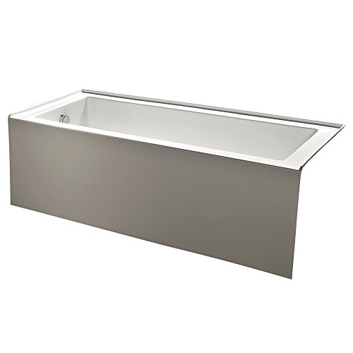 KINGSTON BRASS VTDE603122L 60-Inch Contemporary Alcove Acrylic Bathtub with Left Hand Drain and Overflow Holes , White (Hand Bathtub)