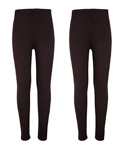 VigossGirls 2 Pack Soft Cotton Leggings (10/12, Black/Black)
