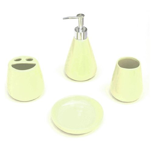 4 Piece Bathroom Ceramic Accessory Set: Lotion/Liquid Soap Dispenser, Tumbler, Toothbrush Holder, Soap Dish: CREAM