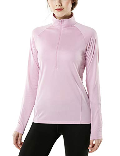 TSLA Women's Half Zip HyperDri Track Pullover Running Cool Dry Active Sport Shirt Top, Pullover Halfzip(fkz04) - Pink, Small