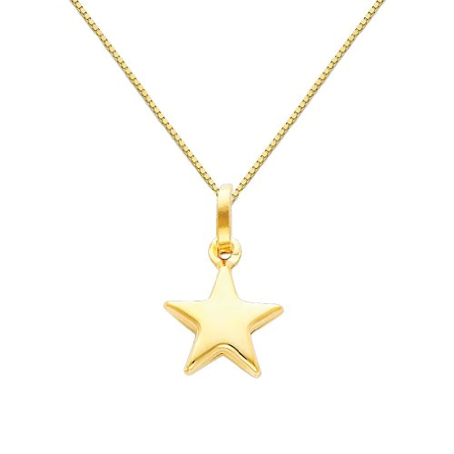 14k Yellow Gold Star Charm Pendant with 0.65mm Box Link Chain Necklace - 22