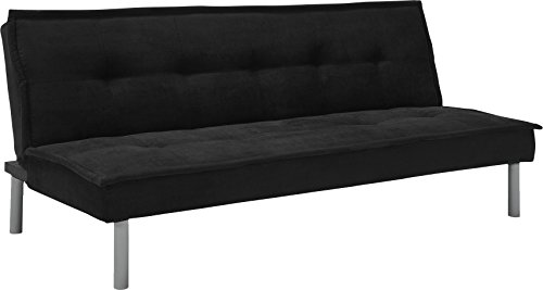 Microfiber Convertible Futon (DHP Kent Convertible Microfiber Couch Bed with Sturdy Metal Legs, 600 lbs, Small - Black)
