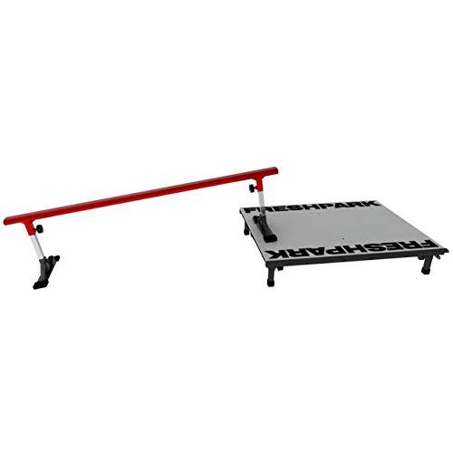 FreshPark 6 Foot Adjustable Height Grind Rail and Fun Box - Manual Pad Skateboard ()