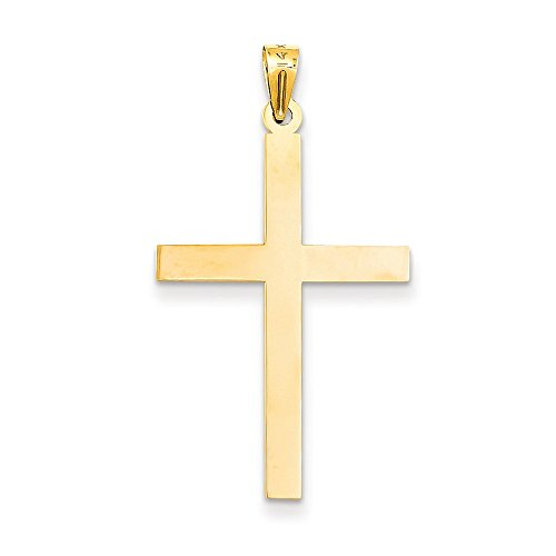 Engraveable Boy Charm - 14k Gold Engraveable Cross Charm Pendant (1.5 in x 0.75 in)