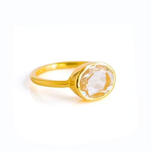 (Oval Crystal Clear Quartz Gemstone Ring Bezel Set in Vermeil Gold or Sterling Silver, April Birthstone Ring)