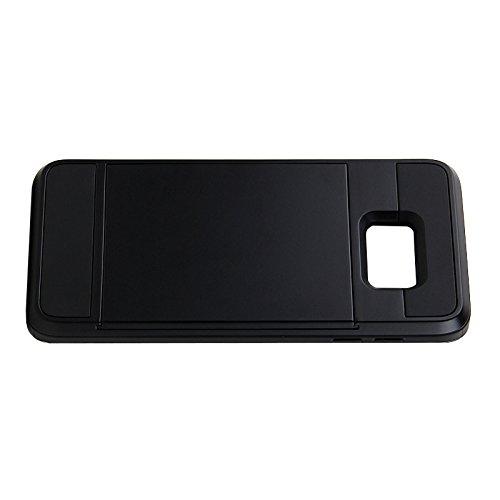 Telefon-Kasten - SODIAL(R)Karte Tasche Stossfeste Duenne Hybrid Mappe Abdeckung fuer Samsung Galaxy S6 Edge Plus Schwarz