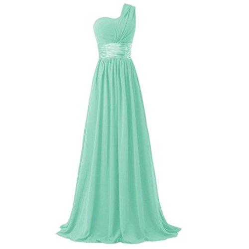 Bridesmaid Shoulder Annie's Bridal Prom One Women's Chiffon Long Gowns Dresses Mint qnnXgFaw