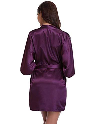 Kimono Mujer, Batas Cortos Ropa de Dormir Manchas Seda V-Cuello con Cinturón Pijama