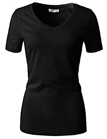 H2H Womens Plain Basic Deep Scoop Neck with Cap Short Sleeves Top Tee Black US S/Asia S (CWTTS0151)