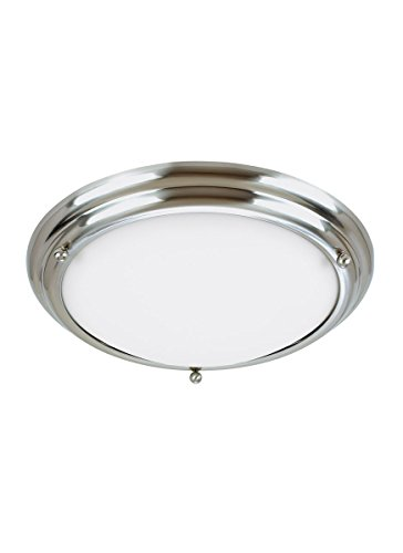 Sea Gull Lighting 77088-98 2-Light Centra Close-To-Ceiling Fixture, Satin White Glass and Brushed Stainless