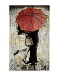The Red Umbrella by Loui Jover Vintage Couple Kiss Romance Poster Choose Size of Print