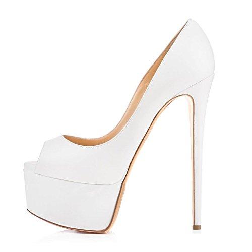 Kolnoo Damenschuhe High Heels Peep Toe Pumps mit Plateau Weiß Große Größe Weiß
