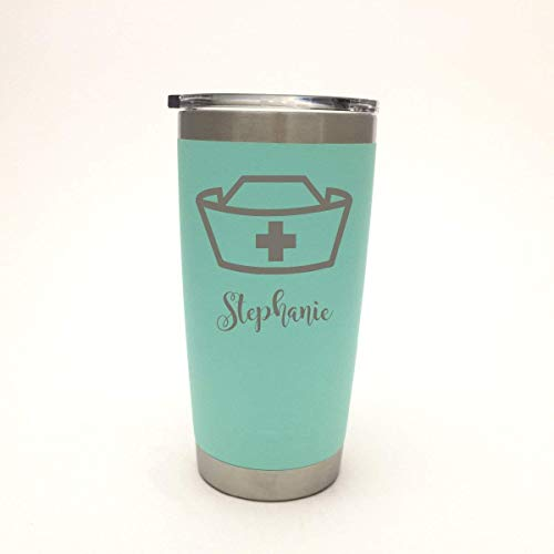 0ab9fcfe1ac Amazon.com: YETI Nurse Hat with name engraved Stainless Steel Travel Mug or  New DuraCoat Colors - NOT A STICKER!: Handmade