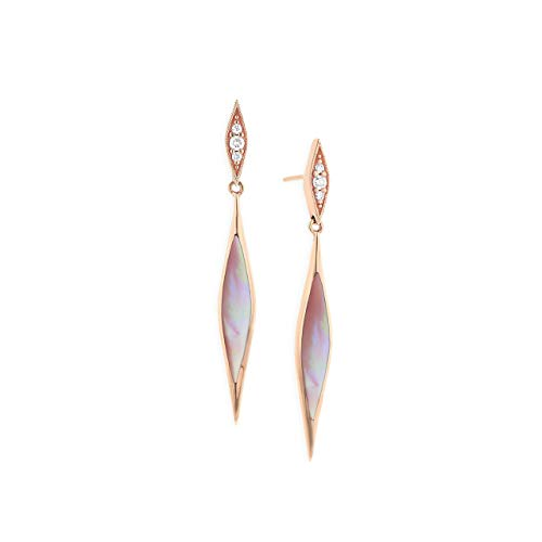 (14k Rose Gold Kabana Pink Mother of Pearl and Diamond Dangle Earrings )
