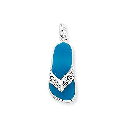 Sterling Silver Aqua Enameled Czech Crystal Flip Flop Charm