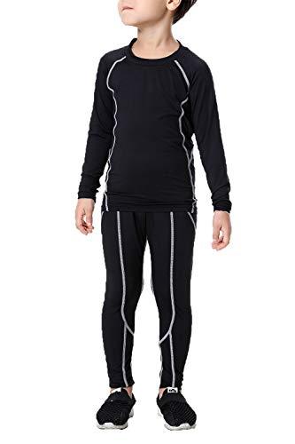 Hockey Girl Costume (LANBAOSI Boys & Girls Long Sleeve Compression Shirts and Pant 2 Pcs Set, Grey Line, 7,)