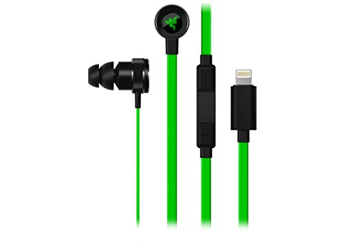 Razer Hammerhead Earbuds for iOS - [Green]: DAC - Custom-Tuned Dual-Driver Technology - In-Line Mic & Volume Control - Aluminum Frame - Lighting Connector
