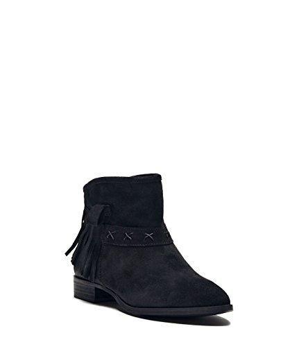 PoiLei Fransenstiefelette mit Blockabsatz Amy Velour Leder Damen Stiefelette schwarz
