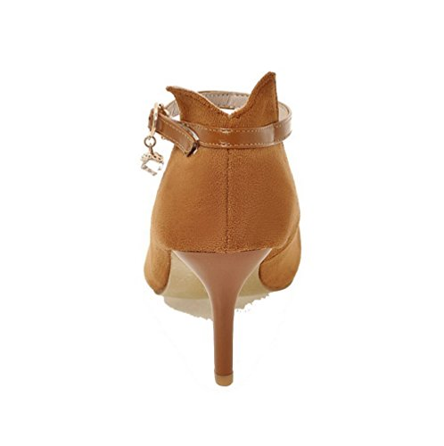 Pointed High Yellow Pumps Buckle Heels Women's Frosted Solid Toe WeenFashion Shoes t4x7YpqwO