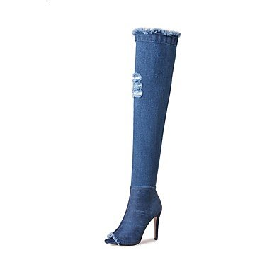talón RTRY Azul US5 sobre Ue40 Primavera botas us9 rodilla UK7 Western amp;Amp; botas botas la Cowboy peep de toe CN41 Noche Zapatos Fabric parte 5 Verano Stiletto UK3 5 CN35 EU36 mujer for casual con SP6xrqSCw