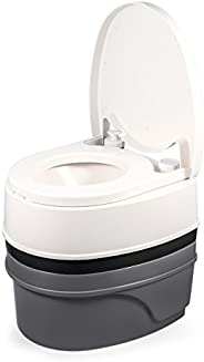 Camco Premium Portable Travel Toilet With Three Directional Flush And Swivel Dumping Elbow, Designed for Campi