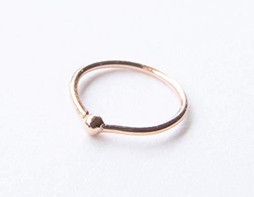 (14k Rose Gold Filled Adjustable Metal Hoop Nose ring - 22 Gauge 7-8 mm)