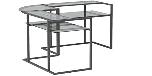 Ryan Rove Belmac Glass Large Modern L-Shaped Desk Corner Computer Office Desk for Small PC Laptop Study Table Workstation Home Office with Keyboard Shelf - Black Frame and Clear Glass