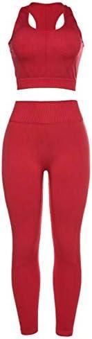 セクシーな赤いシームレスなヨガスーツ女性ツーピースレギンススポーツウェア