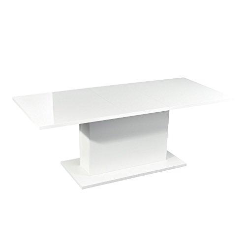 Amazoncom Homy Casa High Gloss White Extendable Rectangular