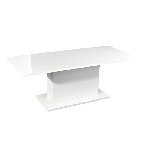 High Gloss White Extendable Rectangular Dining Table, Mltifunction Space Saving Wood Table (High Gloss White Top) (Contemporary Dining Room Table)