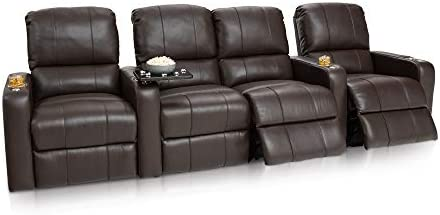 Seatcraft Millenia Home Theater Seating Power Recline Leather Row of 4 Loveseat, Brown