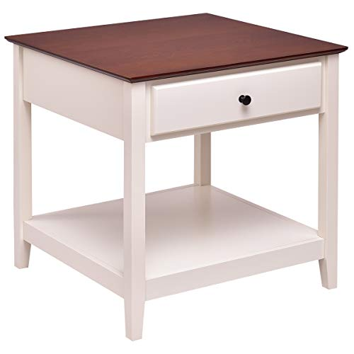 Cheap Tangkula End Table Wood Elegant Vintage Multi-Purpose Sofa Side Table Accent Table Night Stand with Storage Drawer and Shelf (1)