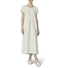 24eaced622 Vivid Linen Short Sleeve Dress-XS-Apple Red at Amazon Women s Clothing store