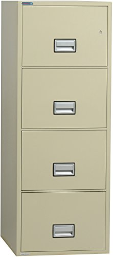 Phoenix Vertical 31 inch 4-Drawer Letter Fireproof File Cabinet - Putty