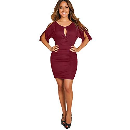 Mujer Red En Cuello Sexy Con Para Vestido Wine Falda Club Vestir Pico Sonnena De AwdFqx4f