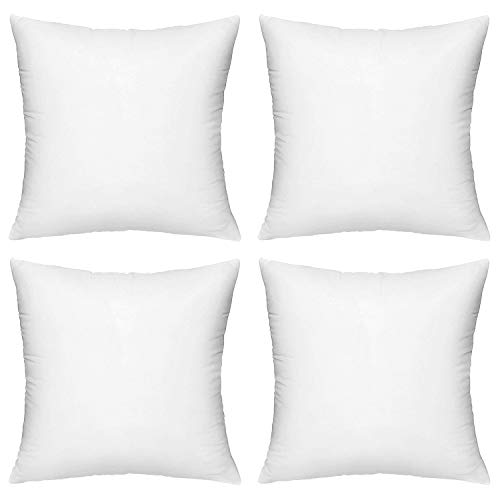 HIPPIH 4 Pack 18 x 18 Pillow Inserts, Hypoallergenic Decorative Square Pillow Form Insert with Zips, White by HIPPIH
