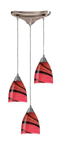 Elk 527-3A 3-Light Pendant In Satin Nickel and Autumn Glass