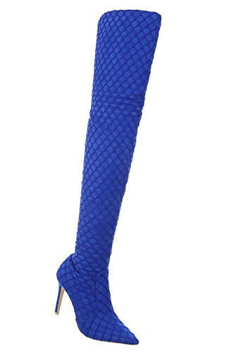 Boots High Damen Heels Stiletto Stiefel Stiefel Blau Langschaft Schuhe Overknee xRqRvBF