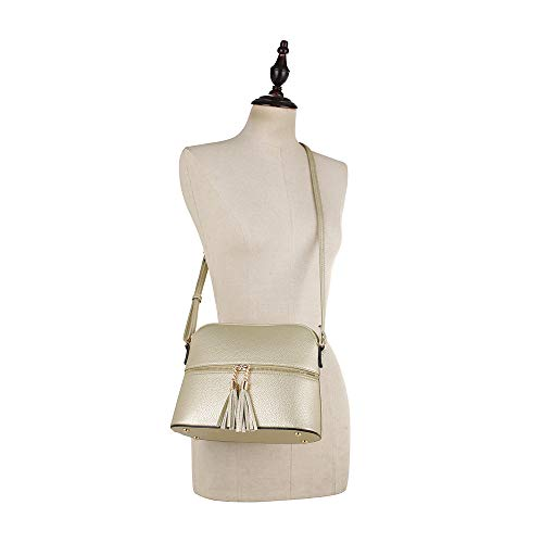 SUGU Lightweight Adjustable SG Gold Zipper Pocket Crossbody Strap Tassel Bag with Medium Dome ZdFH5qU